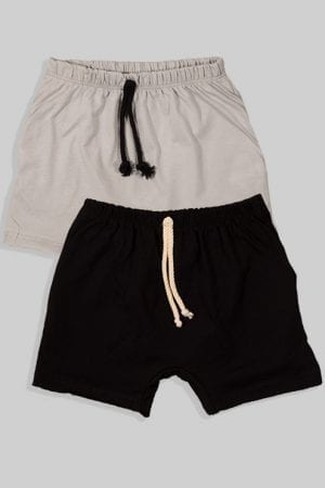 זוג מכנסיים עם שרוך - חלק - שחור ואפור (3 חודשים - גיל שנתיים)
