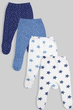 מארז רגליות פלנל - כוכבים כחול ותכלת