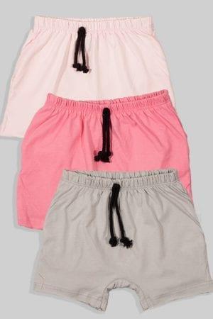 שלישיית מכנסיים עם שרוך - חלק - ורוד בהיר ורוד כהה ואפור (3 חודשים - גיל שנתיים)