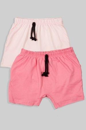 זוג מכנסיים עם שרוך - חלק - ורוד כהה ובהיר (3 חודשים - גיל שנתיים)