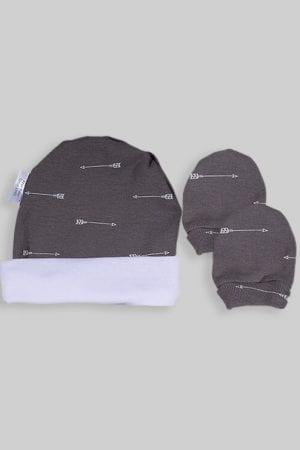 כפפות וכובע לתינוק - בסיס אפור חיצים