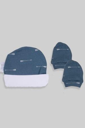 כפפות וכובע לתינוק - בסיס כחול חיצים