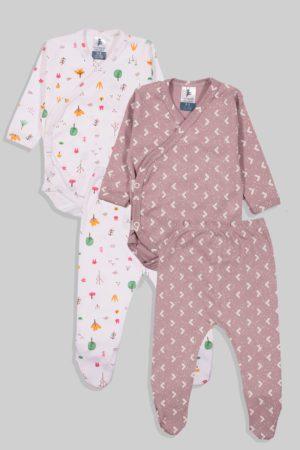 שני סטים בגדי גוף מעטפת ורגליות פלנל - יער משולשים - סגול ורוד (0-3 חודשים)