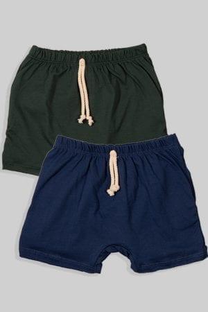 זוג מכנסיים עם שרוך - חלק - כחול וירוק (3 חודשים - גיל שנתיים)