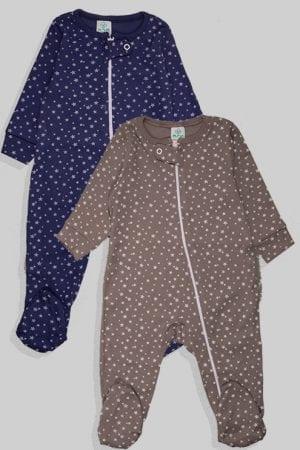 זוג אוברולים עם ריצרץ טריקו - כוכבים  - אפור כחול (3-12 חודשים)
