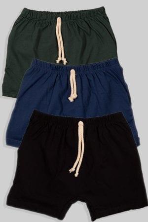 שלישיית מכנסיים עם שרוך - חלק - כחול וירוק שחור (3 חודשים - גיל שנתיים)