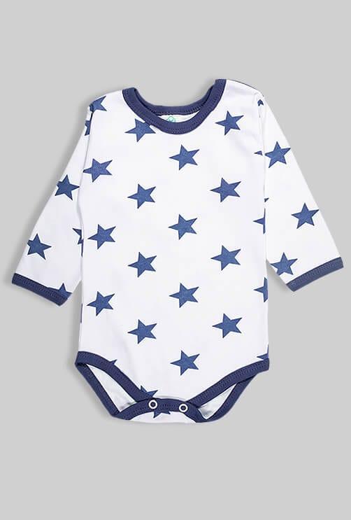 רביעיית בגדי גוף פלנל - כוכבים - כחול ותכלת