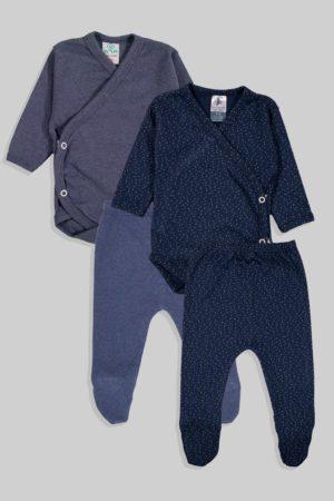 שני סטים בגדי גוף מעטפת ורגליות פלנל - נקודות חלק  - כחול (0-3 חודשים)