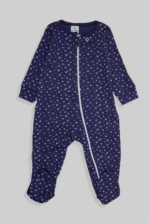 אוברול לתינוקות טריקו - כוכבים קטנים - כחול (3-12 חודשים)