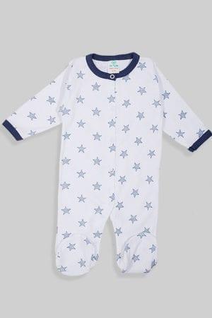 אוברול עם תיקתק כוכבים כחולים גדולים טריקו (0-3 חודשים)