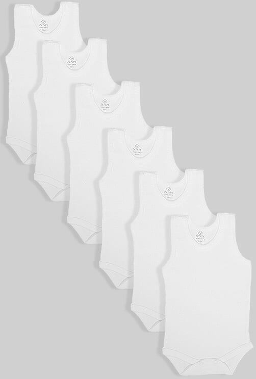שישיית בגדי גוף גופייה לבן (0-2.5 שנים)