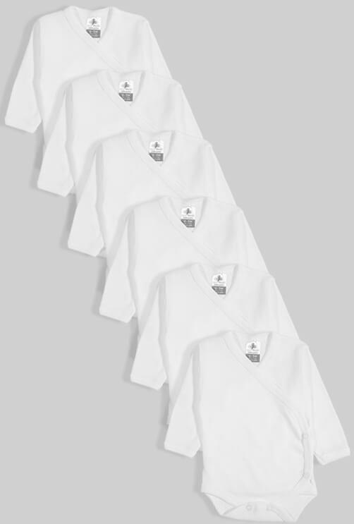 שישיית בגדי גוף מעטפת טריקו לבן (0-3 חודשים)