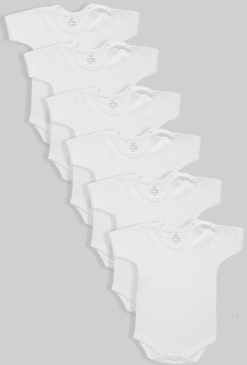 שישיית בגדי גוף שרוול קצר לבן (0-2.5 שנים)