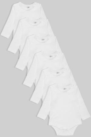 שישיית בגדי גוף שרוול ארוך פלנל/טריקו לבן (0-2.5 שנים)