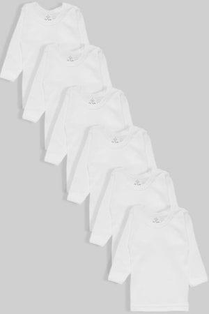 שישיית חולצות פלנל שרוול ארוך לבן (עד 10 שנים)