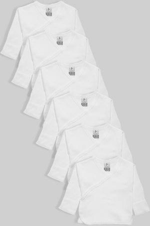 שישיית חולצות מעטפת לתינוק עם כפפה פלנל/טריקו לבן (0-3 חודשים)