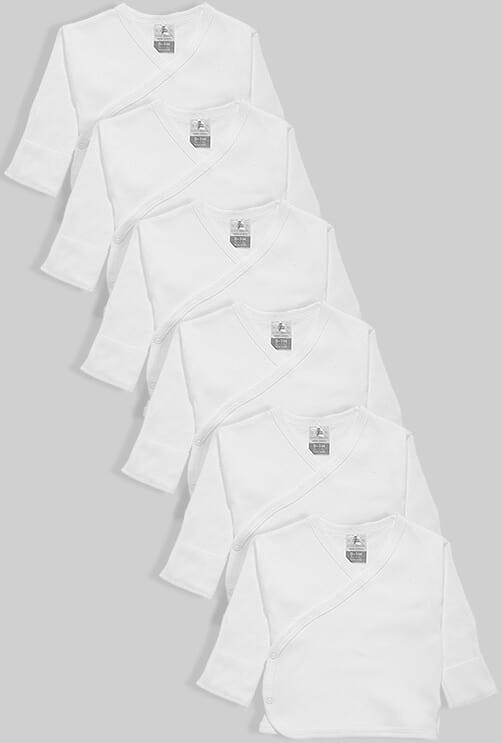 שישיית חולצות מעטפת לתינוק עם כפפה טריקו לבן (0-3 חודשים)