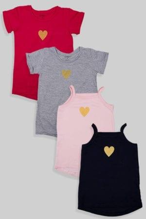 """רביעיית גופיות וחולצות """"לב"""" זהב"""