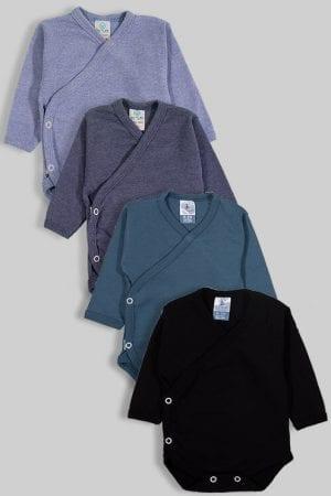 רביעיית בגדי גוף לתינוק מעטפת פלנל - חלק - תכלת שחור (0-3 חודשים)