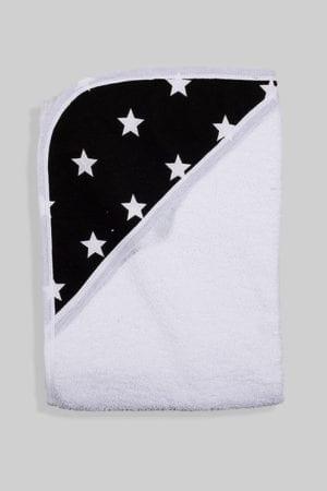 מגבת לתינוק עם כובע שחור כוכבים לבנים