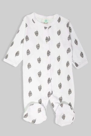 אוברול פלנל לתינוקות עם רוכסן - עלים שחורים (0 - 2 שנים)