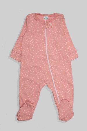 אוברול לתינוקות טריקו - כוכבים קטנים - ורוד עתיק (3-12 חודשים)