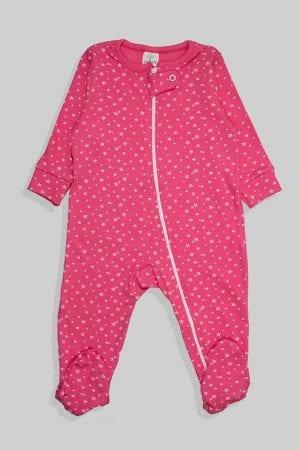 אוברול לתינוקות טריקו - כוכבים קטנים - ורוד (3-12 חודשים)