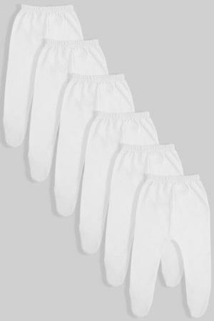 שישיית רגליות לתינוקות פלנל/טריקו לבן (0-3 חודשים)