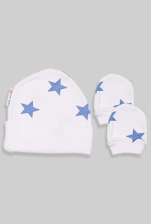כובע + כפפה לתינוק - כוכבים תכלת (0-3 חודשים)