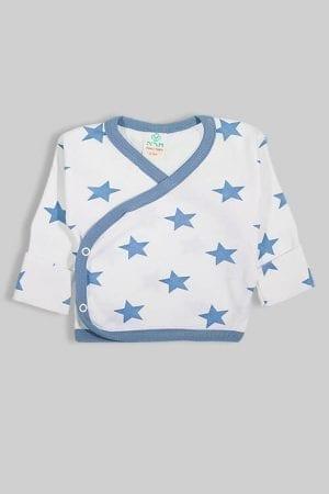 חולצת מעטפת עם כפפה פלנל - כוכבים תכלת (0-3 חודשים)