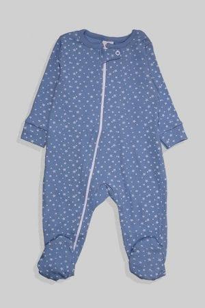 אוברול לתינוקות טריקו - כוכבים קטנים - תכלת (3-12 חודשים)