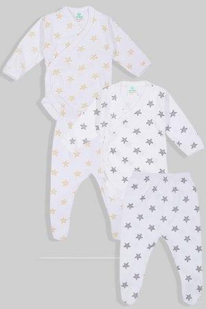 שני סטים בגדי גוף מעטפת ורגליות פלנל - כוכבים - צהוב שחור (0-3 חודשים)