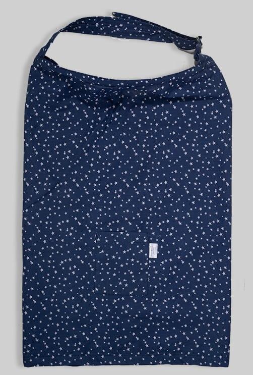 סינר הנקה עם כיס וקשת - כחול כוכבים