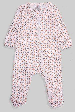 אוברול פלנל לתינוקות עם רוכסן - לבן נקודות (0 - 6 חודשים)