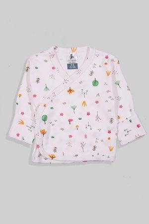 חולצת מעטפת עם כפפה פלנל - יער צבעוני (0-3 חודשים)