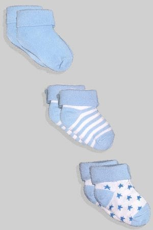 שלישיית גרביים לתינוקות  - תכלת