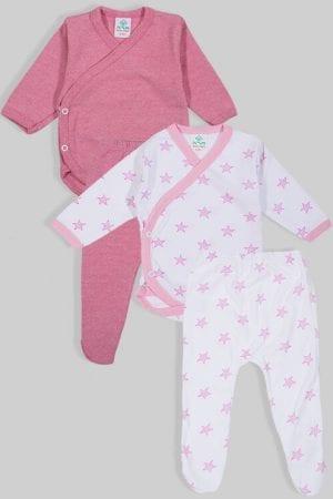 שני סטים בגדי גוף מעטפת ורגליות פלנל - חלק כוכבים - ורוד (0-3 חודשים)