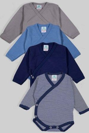 רביעיית בגדי גוף מעטפת פלנל - חלק פסים - כחול אפור (0-3 חודשים)