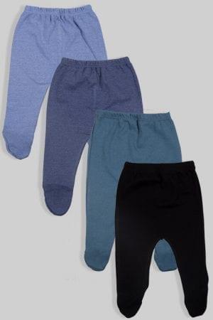 רביעיית רגליות פלנל - חלק - שחור כחול תכלת ואפור (0-3 חודשים)