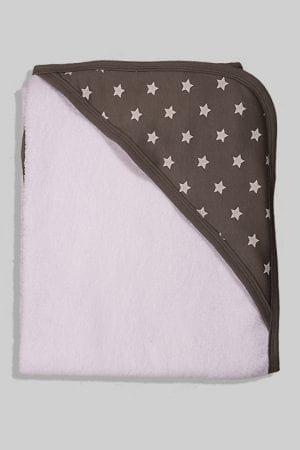 מגבת לתינוק עם כובע - כוכבים - אפור