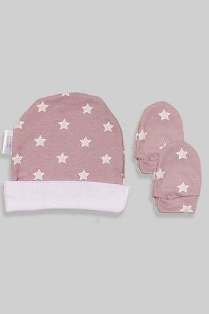 כפפות וכובע לתינוק - בסיס סגול כוכבים (0-3 חודשים)