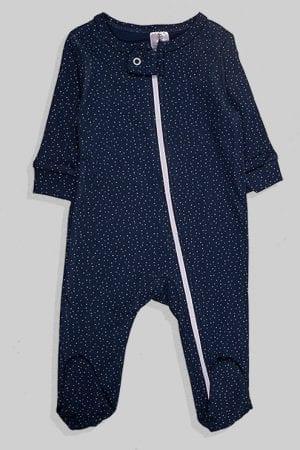 אוברול עם רוכסן לתינוקות פלנל - כחול משולשים (0-3 חודשים)