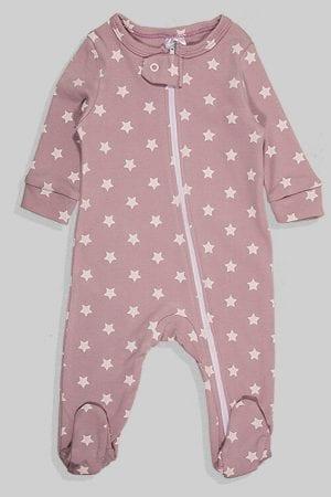 אוברול פלנל לתינוקות עם רוכסן - סגול כוכבים (0 -18 חודשים)