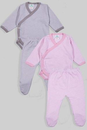 שני סטים בגדי גוף מעטפת ורגליות פלנל - פסים - ורוד אפור (0-3 חודשים)
