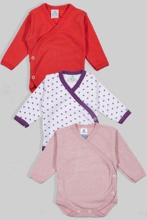 שלישיית בגדי גוף מעטפת פלנל - חלק כוכבים (0-3 חודשים)