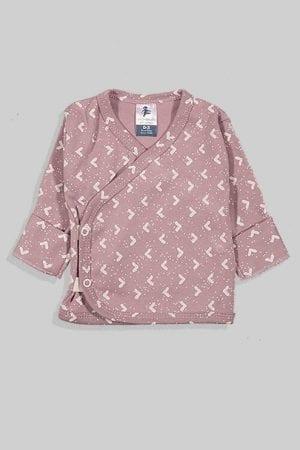 חולצת מעטפת עם כפפה פלנל - בסיס סגול משולשים (0-3 חודשים)