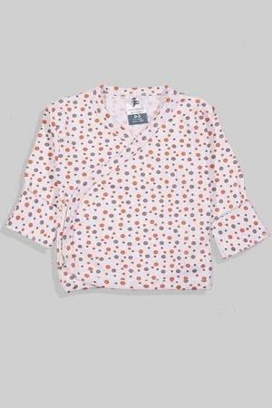 חולצת מעטפת עם כפפה פלנל - בסיס לבן נקודות (0-3 חודשים)