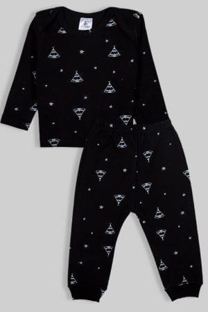 חליפת שינה שרוול ארוך פלנל - אוהלים - שחור (3 חודשים - 2.5 שנים)