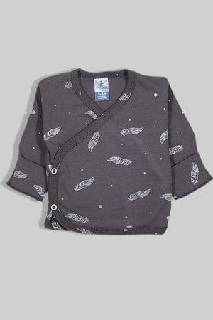חולצת מעטפת עם כפפה פלנל - נוצות - אפור (0-3 חודשים)