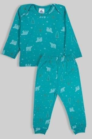 חליפת שינה שרוול ארוך פלנל - דובים - ירוק (3 חודשים - 2.5 שנים)